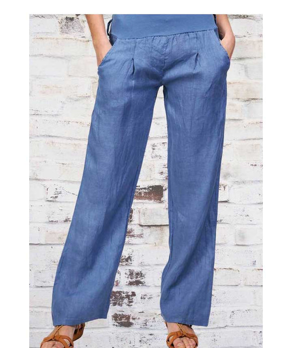 LINEN TROUSERS Wide Elasticated Waistband, Blue