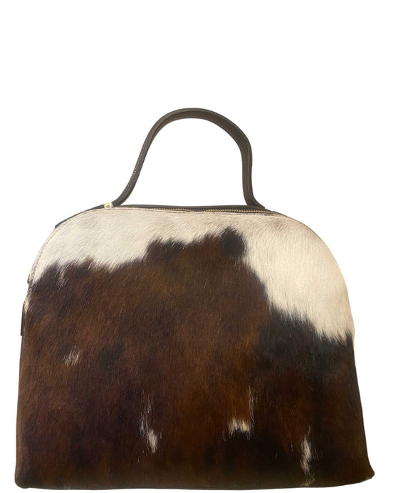 MASOTTI Double Zipped Compartments Cow Hair And Leather Grab Bag, Pony