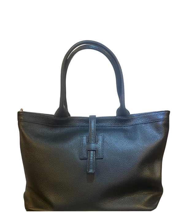 Women's Soft Italian Leather Shopper Shoulder Bag Black