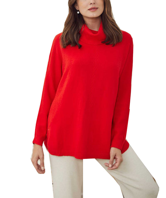Cowl Neck Jumper Side Button Details, Red