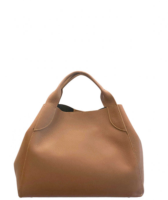 PESTA Tan Structured Italian Leather Tote Grab Shoulder Handbag