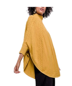 Cable Knit Jumper Poncho Batwing Sleeves, Mustard