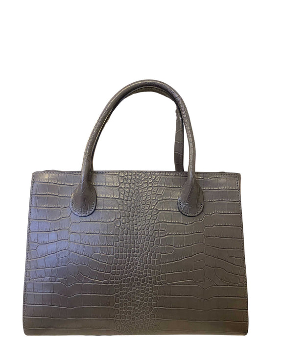 ROSELLA Croc Structured Italian Leather Grab Bag, Grey