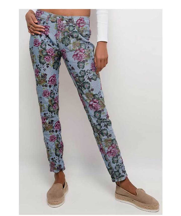 2 IN 1 REVERSIBLE TROUSERS FLORAL PRINT OR JEANS
