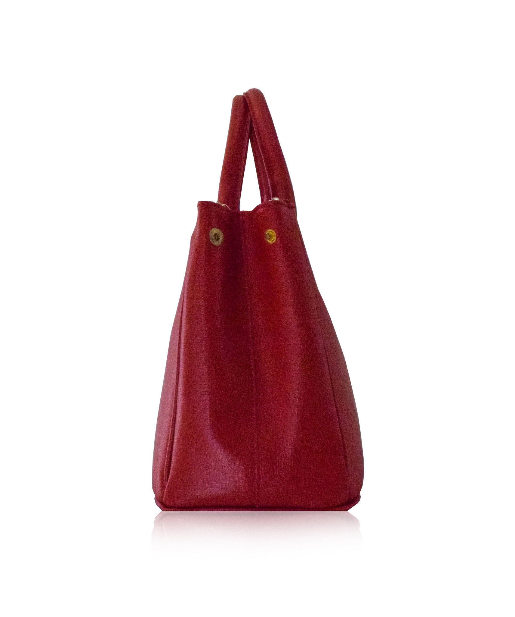 beaa264d72 ROSELLA Small Red Prada Style Saffiano Leather Tote Bag