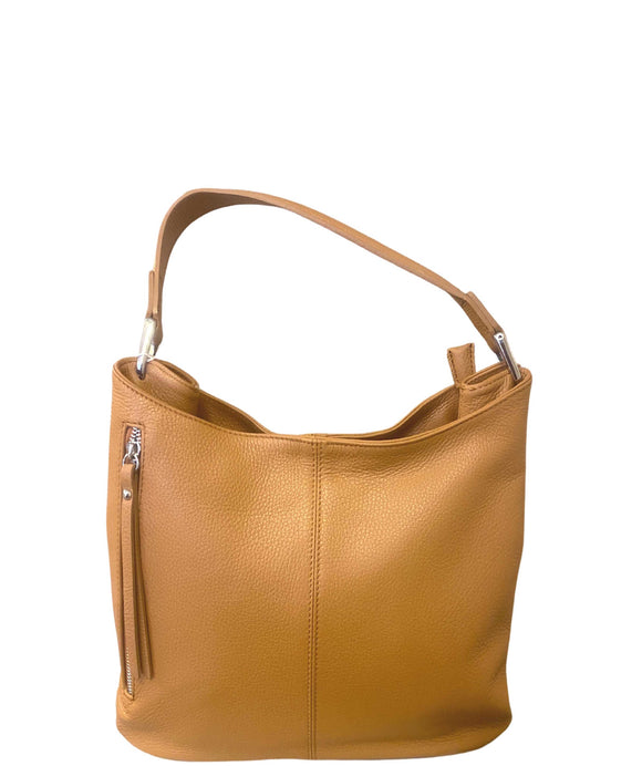 SALAIOLI Slouchy Shaped Italian Leather Shoulder Handbag, Tan