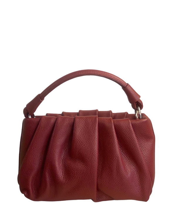Women's Compact Ruched Design Italian Leather Grab Bag, Dark Red