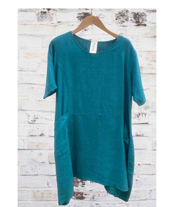 Short Sleeves Linen Loose Oversized Dress Made in Italy, Teal