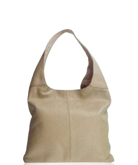 SIGNORIA Soft Italian Leather Hobo Bag / Shoulder Bag, Light Taupe