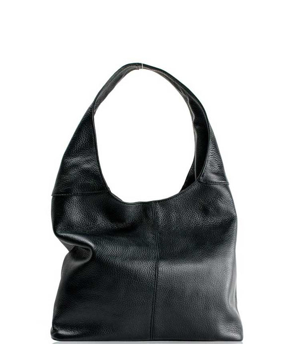 SIGNORIA Soft Italian Leather Hobo / Shoulder Bag, Black