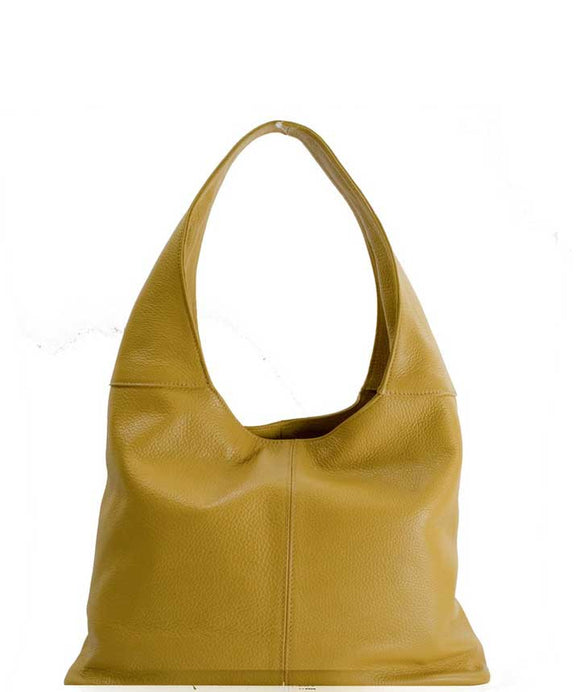 Women's Made in Italy Mustard Soft Leather Hobo Bag / Shoulder Bag