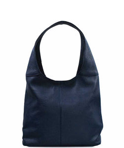 Women's Made in Italy Dark Blue Soft Leather Hobo Bag / Shoulder Bag
