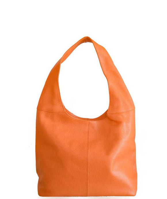 Women's Made in Italy Orange Soft Leather Hobo Bag / Shoulder Bag