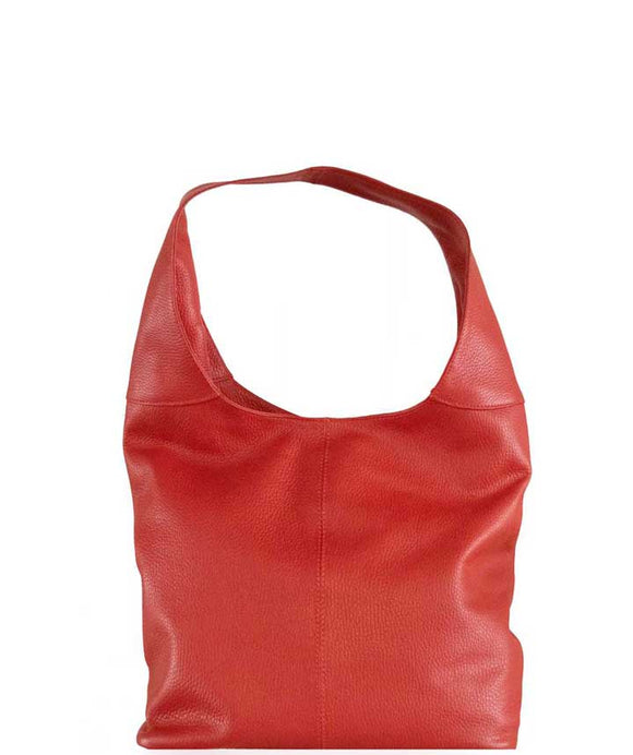 Women's Leather Shoulder Hobo handbag made in Italy Red