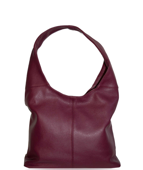SIGNORIA Soft Italian Leather Hobo / Shoulder Bag, Berry