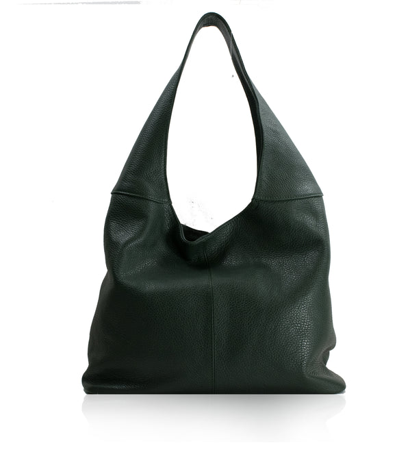 SIGNORIA Dark Green Soft Italian Leather Hobo/Shoulder Bag
