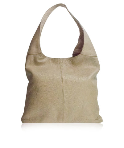 SIGNORIA Light Taupe Soft Italian Leather Hobo Bag / Shoulder Bag