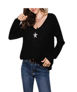 Wool Star Jumper V neckline, Black