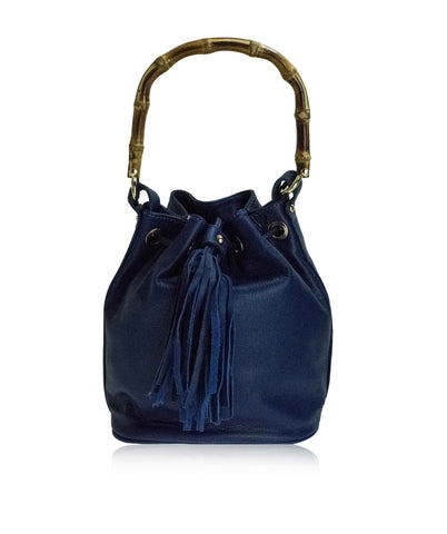 STERZA Blue Bucket Bag With Bamboo Handle