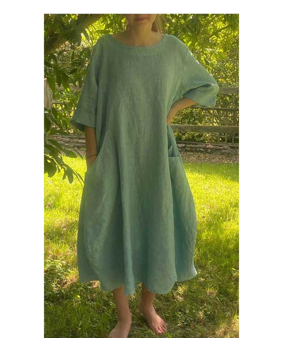 Short Sleeves Linen Loose Oversized Dress Made in Italy, Light Blue
