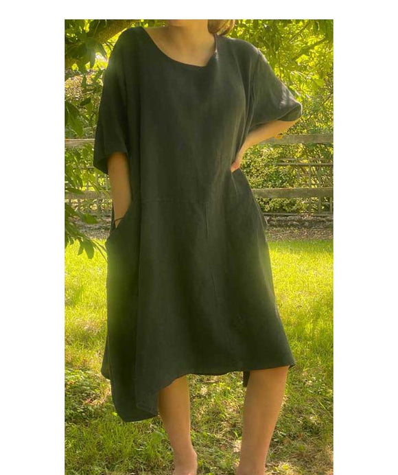 Short Sleeves Linen Loose Oversized Dress Made in Italy, Dark Blue