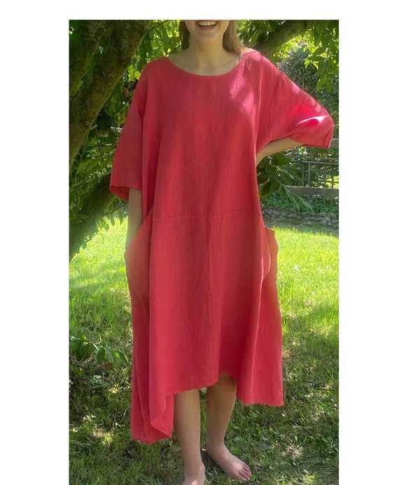 Short Sleeves Linen Loose Oversized Dress Made in Italy, Pink