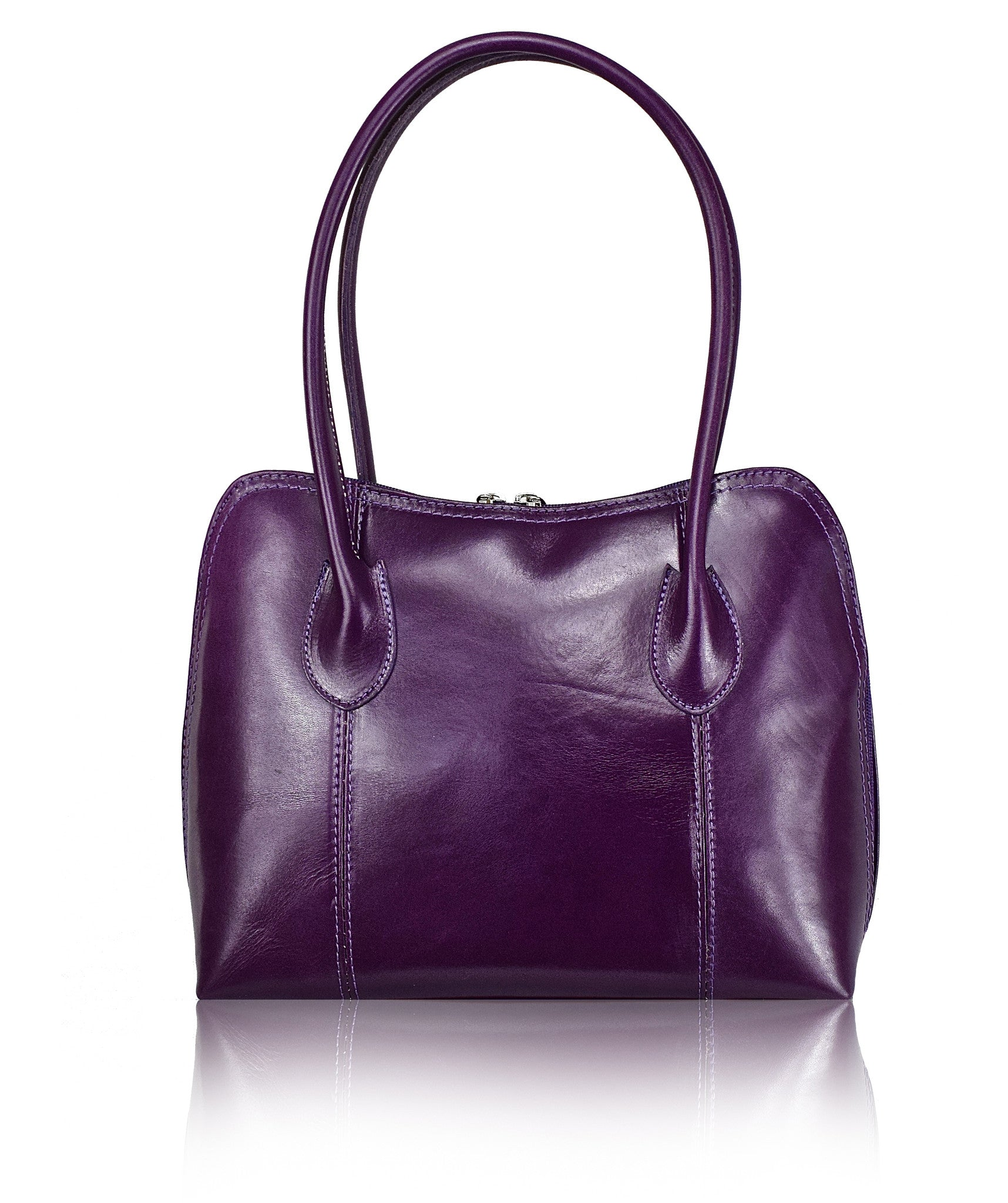 f709e30e130f Purple Leather Shoulder Bag - Made in Italy