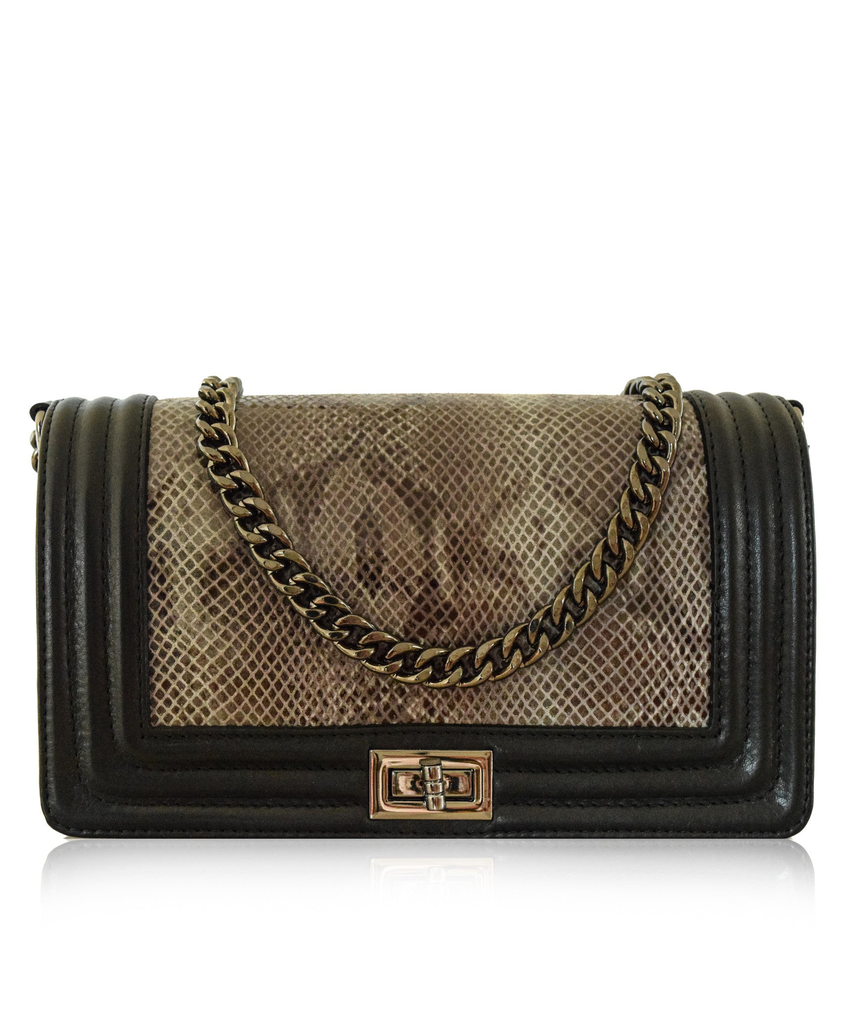 SORANO CHANEL Style Le Boy Medium Flap Bag in Charcoal Python ... 2b9f541f55f98