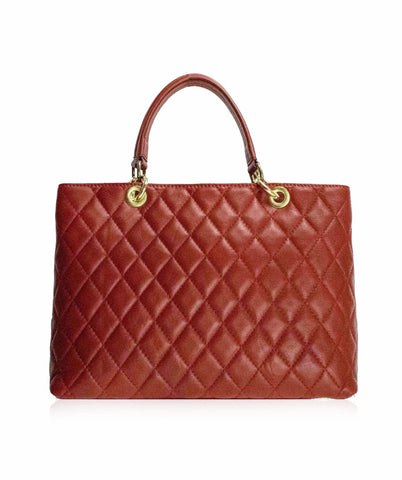STROZZI Grand Shopping Tote Designer Style Red Quilted Leather Handbag