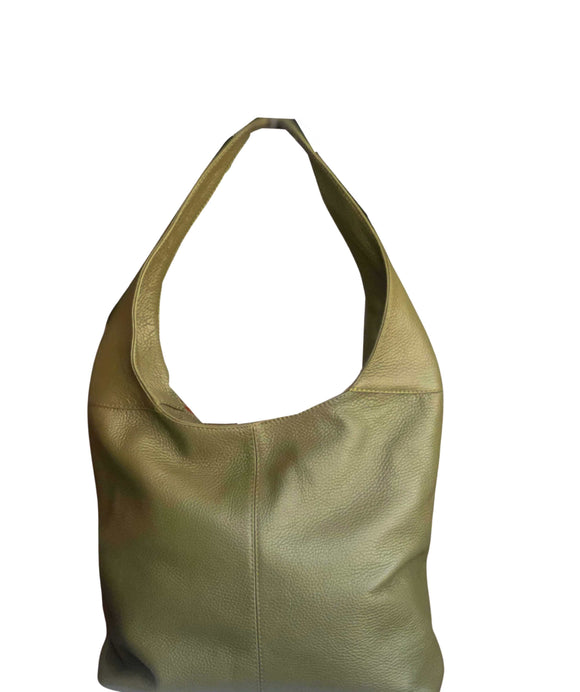 Women's Made in Italy Olive Green Soft Leather Hobo Bag / Shoulder Bag