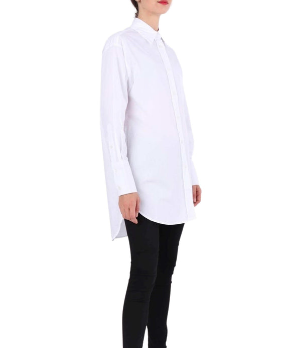 Oversized White Shirt Longer Back Length Wide Cuffs, White