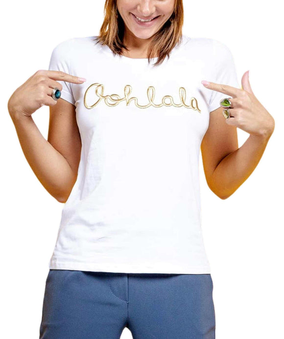 Women's Oohlala T-Shirt Scoop Neckline Gold Embroidery, White