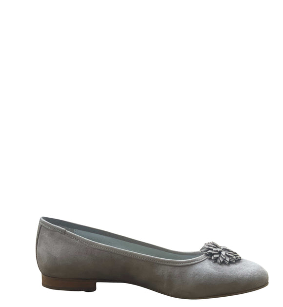 RIVA Suede Ballerinas Pumps Slip on Shoes Made in Italy, Taupe