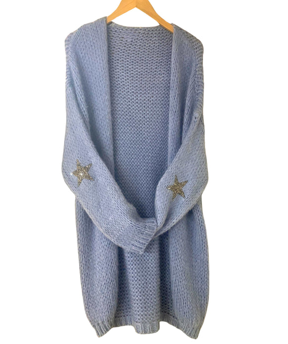 LONGLINE KNIT CARDIGAN & Sparkly Star Feature, Lilac