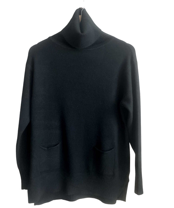 Soft Knitted Jumper Front Pockets Turtleneck, Black