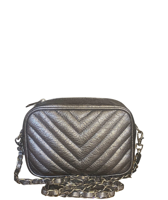 SANO Soho Style Soft Italian Leather Compact Shoulder / CrossBody Bag, Silver