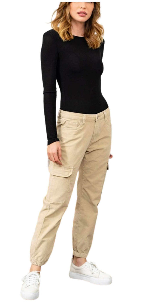 Cargo Combat Trousers Soft Velours Feel, Beige