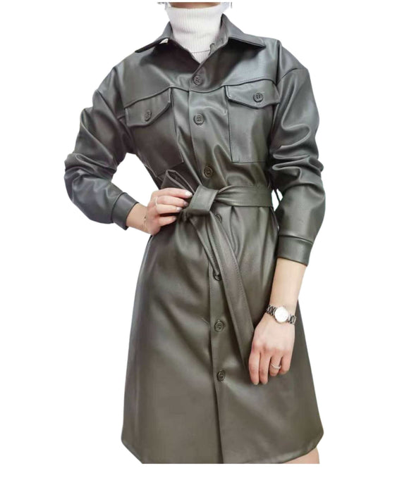 Faux Leather Longline belted Jacket Coat Dress Made in Italy, Khaki