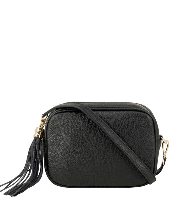 SANO Soho Style Soft Italian Leather Compact Shoulder / CrossBody Bag, Black