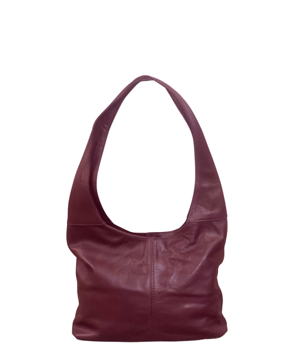 SIGNORIA Small Soft Italian Leather Hobo / Shoulder Bag, Maroon