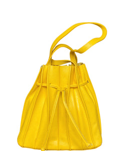 Women's Made in Italy Soft Leather Bucket Shoulder Bag Stitched Seams Yellow
