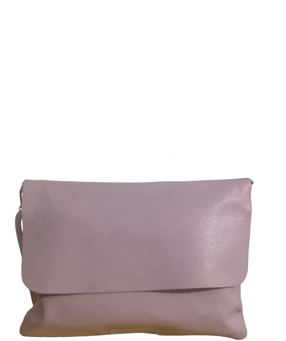 SABBIONI Italian Leather Envelope Clutch Crossbody Bag, Lilac