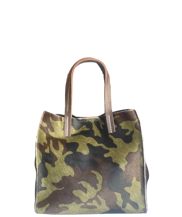 PRODO Small Animal Print Leather Tote Grab Crossbody Bag, Camouflage Army Green