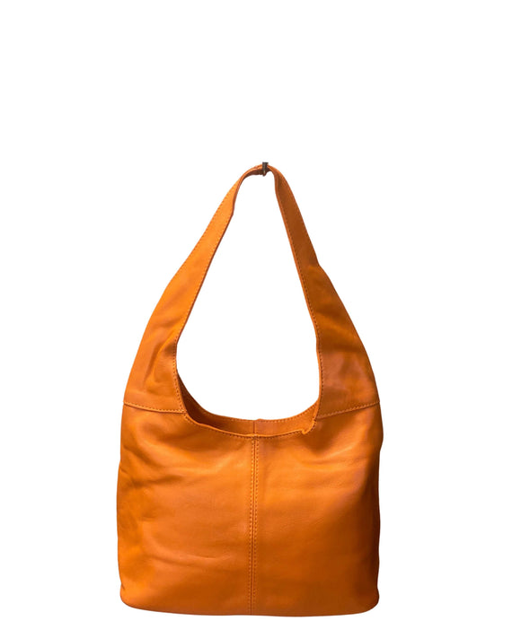 Ladies Small Soft Italian Leather Hobo Shoulder Bag Orange