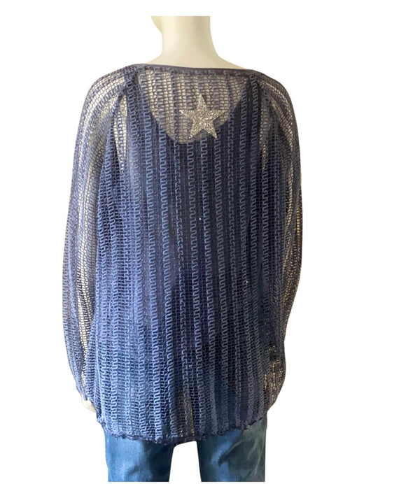 Women's 2 Piece Long Sleeve Lace Top and Camisole Set Sparkly Star, Blue Back