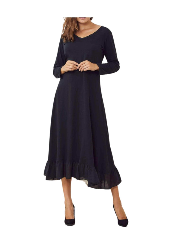 Maxi Dress Frill Hem V Neckline, Black