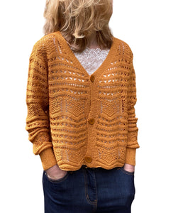 WOMEN'S CROCHET KNIT Cropped Cardigan, Ochre