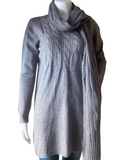 Knitted Jumper Dress Cable Knit Pattern with Scarf, Grey