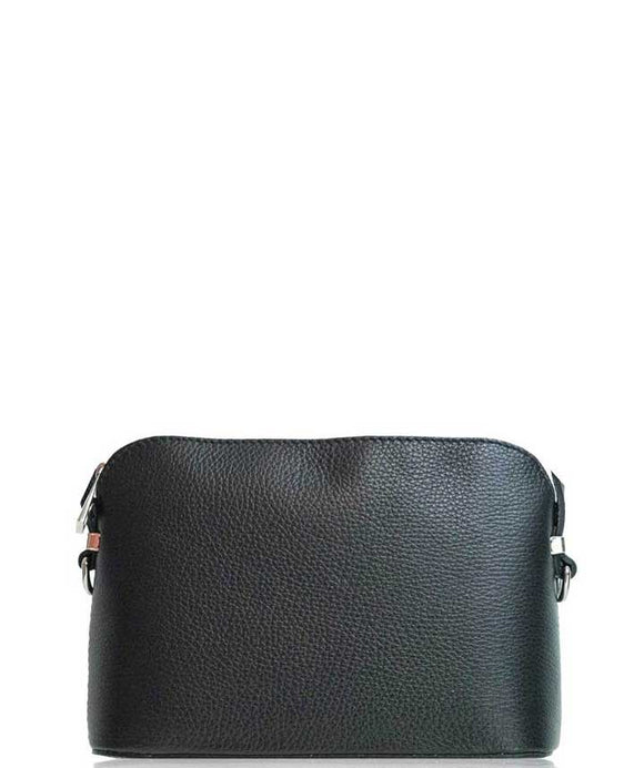 VERNIO Structured Leather Crossbody Bag, Black