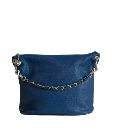 VINCENZO Royal Blue Soft Leather Bucket Bag